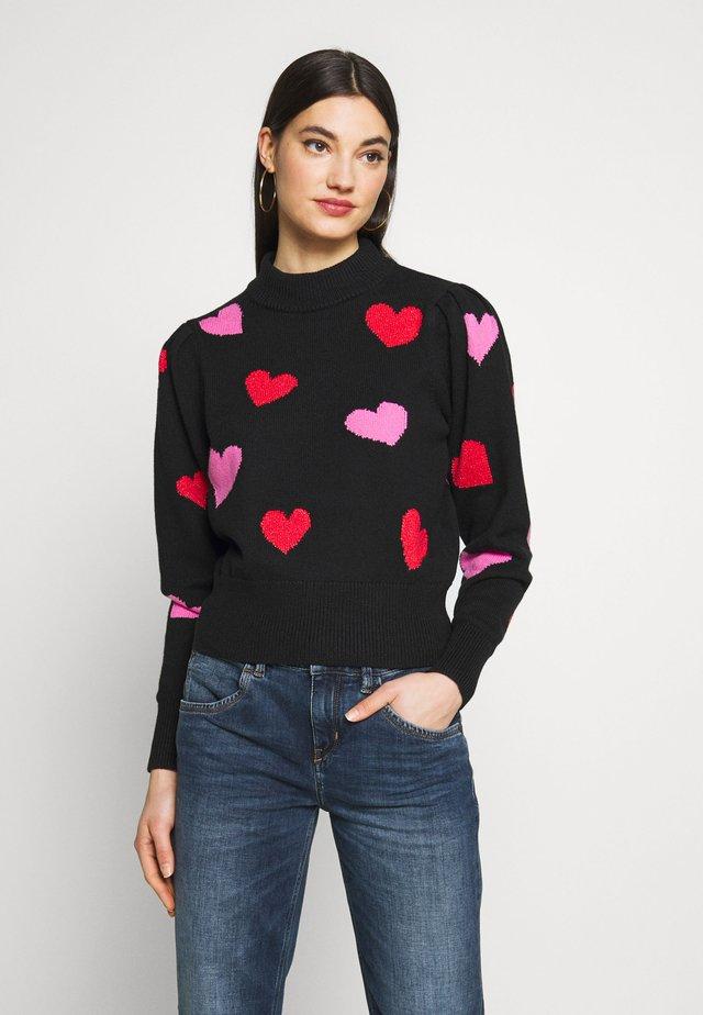 HEARTS MOCKNECK - Jersey de punto - black