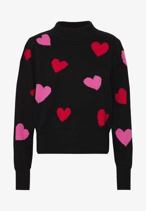 HEARTS MOCKNECK - Sweter - black