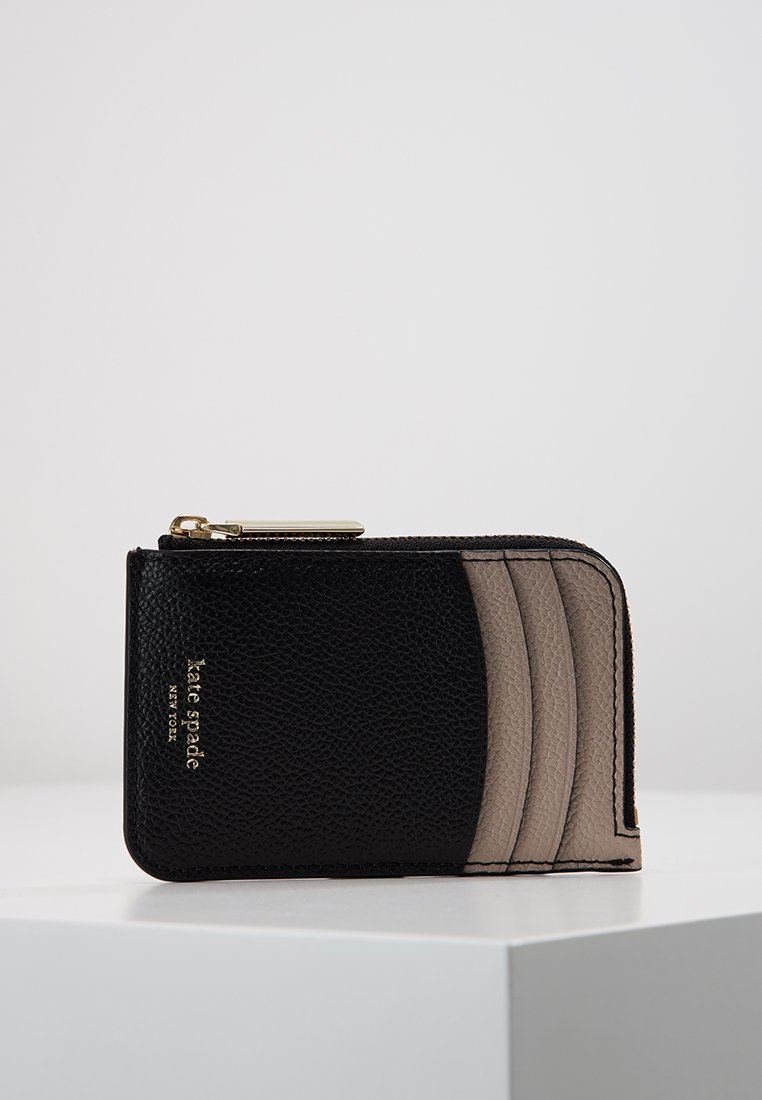 kate spade new york - MARGAUX ZIP CARD HOLDER - Plånbok - black/warm taupe
