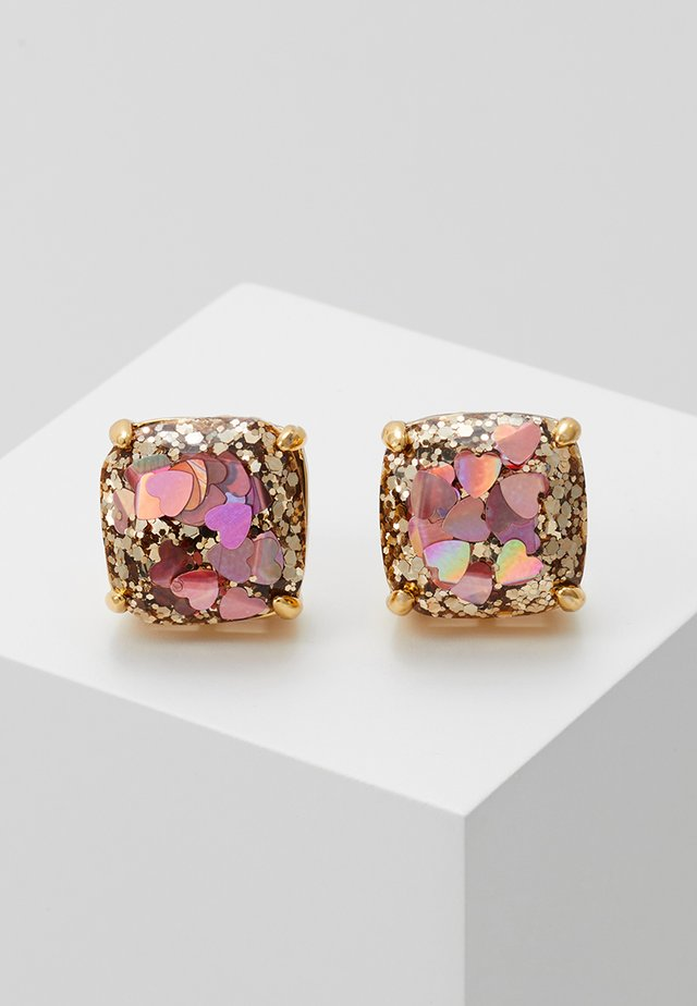 EARRINGS GLITTER SMALL SQUARE STUDS - Earrings - blush/multi