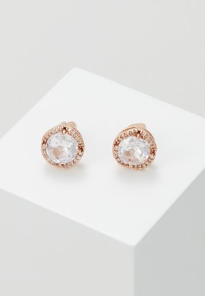 PAVE ROUND LARGE STUDS - Náušnice - clear/rose gold-coloured