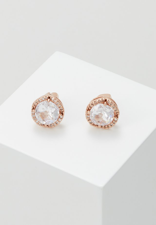 PAVE ROUND LARGE STUDS - Kolczyki - clear/rose gold-coloured