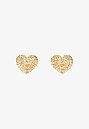 PAVE SMALL HEART STUDS - Earrings - clear/gold-coloured