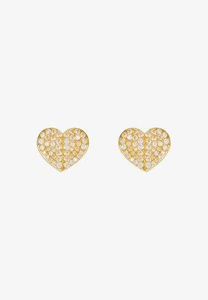PAVE SMALL HEART STUDS - Korvakorut - clear/gold-coloured