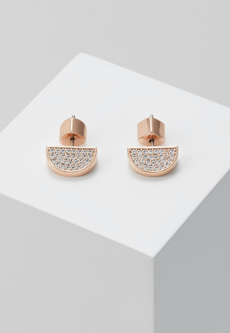 kate spade new york - PAVE STUDS - Earrings - clear/rose gold-coloured