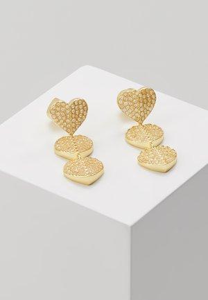 PAVE TRIPLE DROP EARRINGS - Earrings - clear/gold-coloured