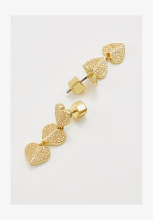 PAVE TRIPLE DROP EARRINGS - Earrings - clear/gold-coloured