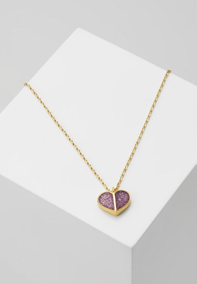 GLITTER HEART MINI PENDANT - Necklace - pink
