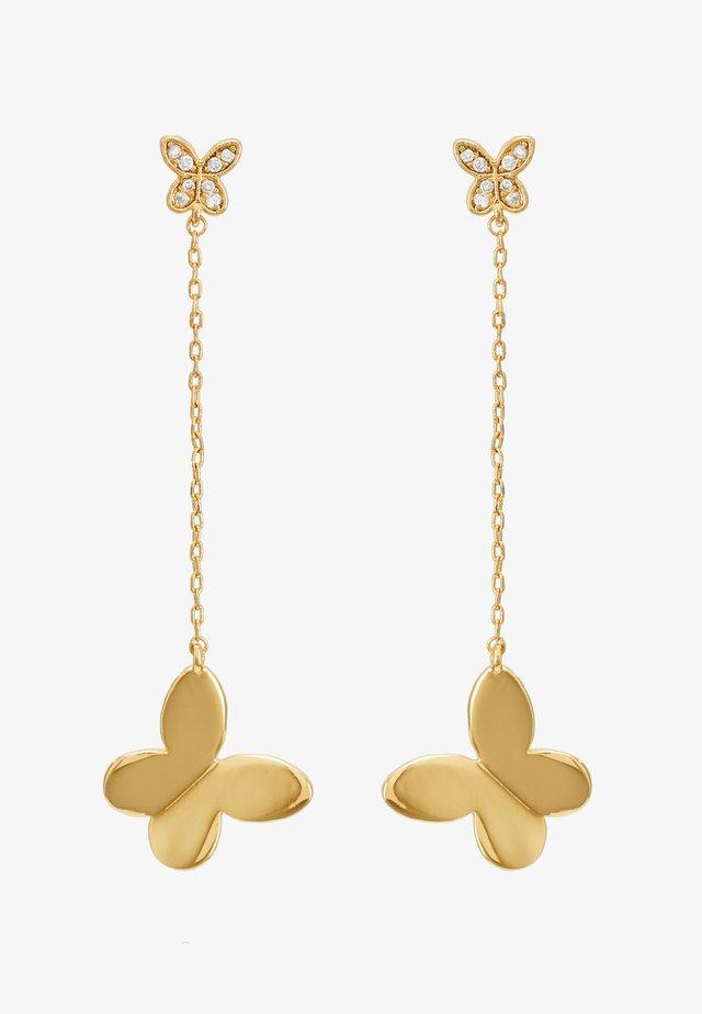 IN A FLUTTER BUTTERFLY DROP EARRINGS - Korvakorut - clear/gold-coloured