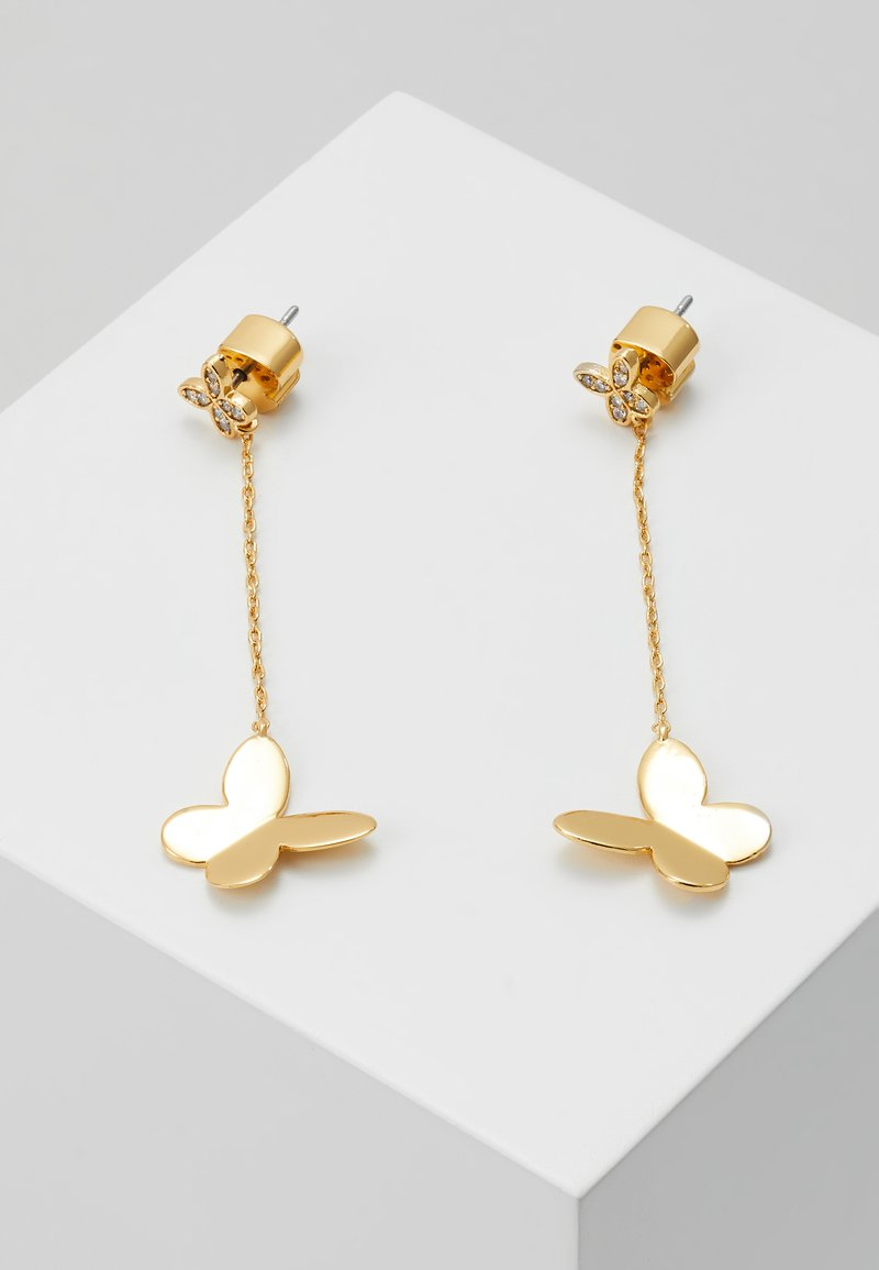 kate spade new york - IN A FLUTTER BUTTERFLY DROP EARRINGS - Ohrringe - clear/gold-coloured