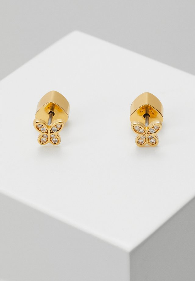 IN A FLUTTER BUTTERFLY PAVE MINI STUDS - Kolczyki - clear/gold-coloured
