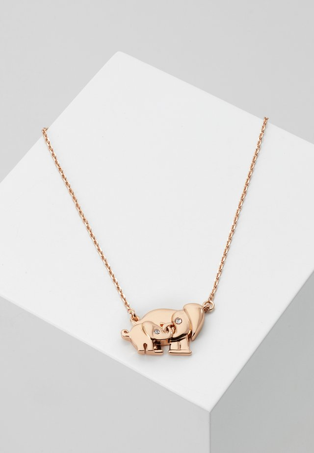 MOM KNOWS BEST ELEPHANT PENDANT - Necklace - clear/rosegold-coloured