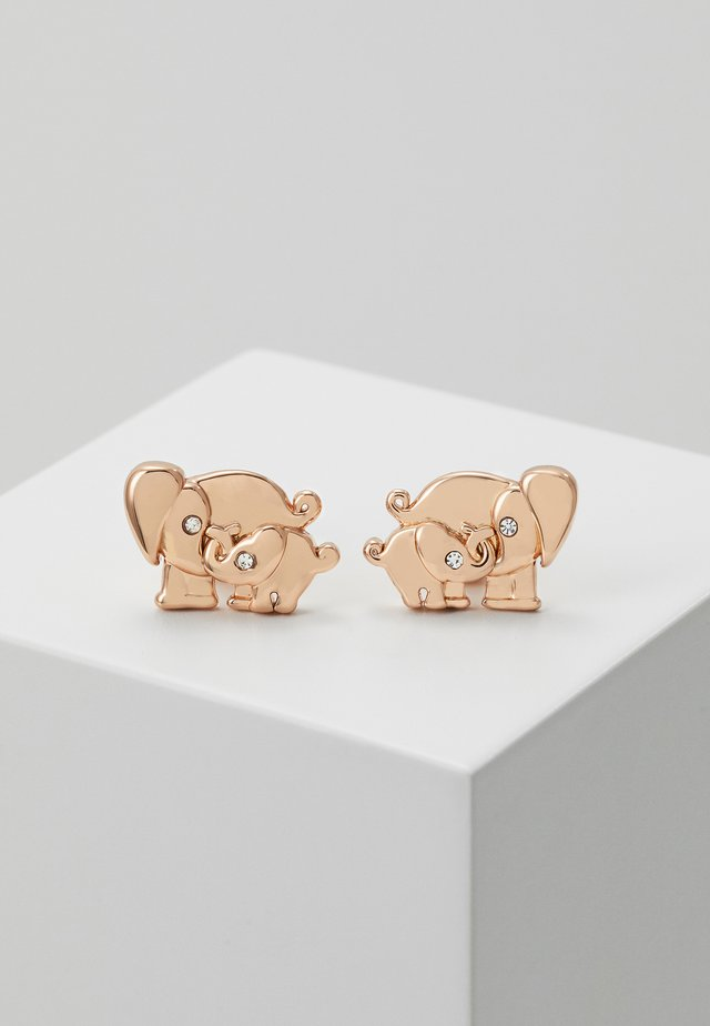 MOM KNOWS BEST ELEPHANT STUDS - Ohrringe - clear/rosegold-coloured