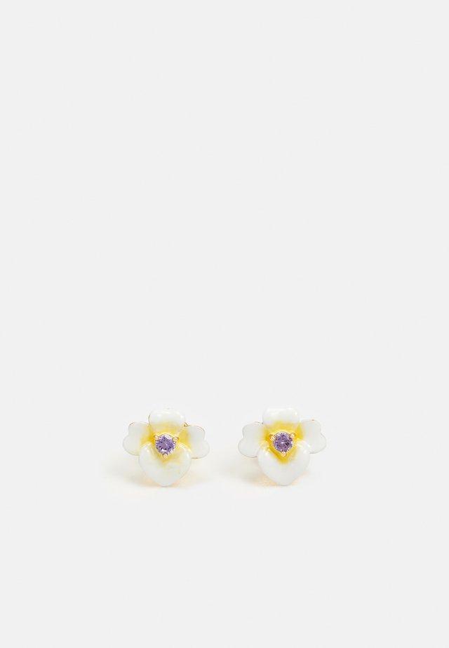 PRECIOUS PANSY ENAMEL STUDS - Earrings - yellow/multi