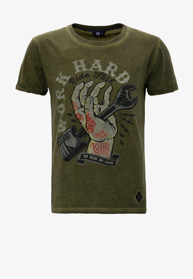 T-shirt imprimé - olivgrün