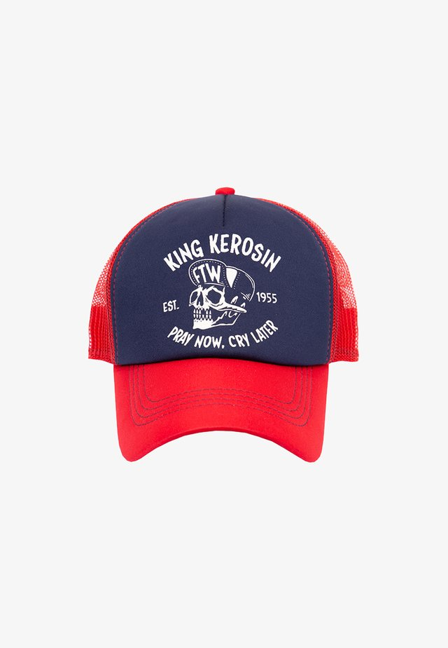 TRUCKER »PRAY NOW. CRY LATER« MIT KONTRASTFARBE - Pet - red