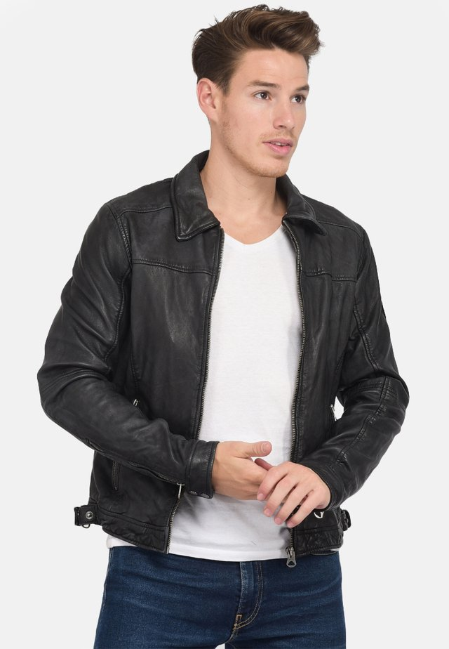 BODDY VINTAGE - Leather jacket - black