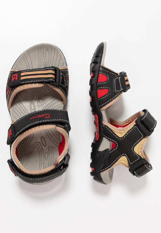 SLADER - Walking sandals - sand/black/red