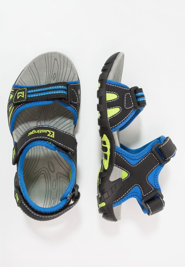 SLADER - Walking sandals - royalblue/black/lime