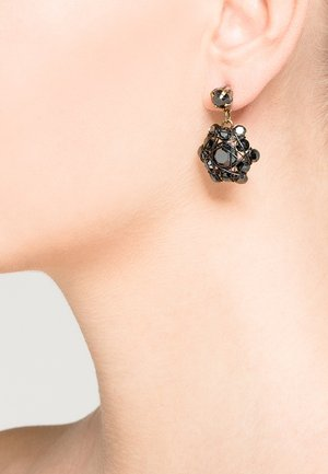 Earrings - black/antique brass