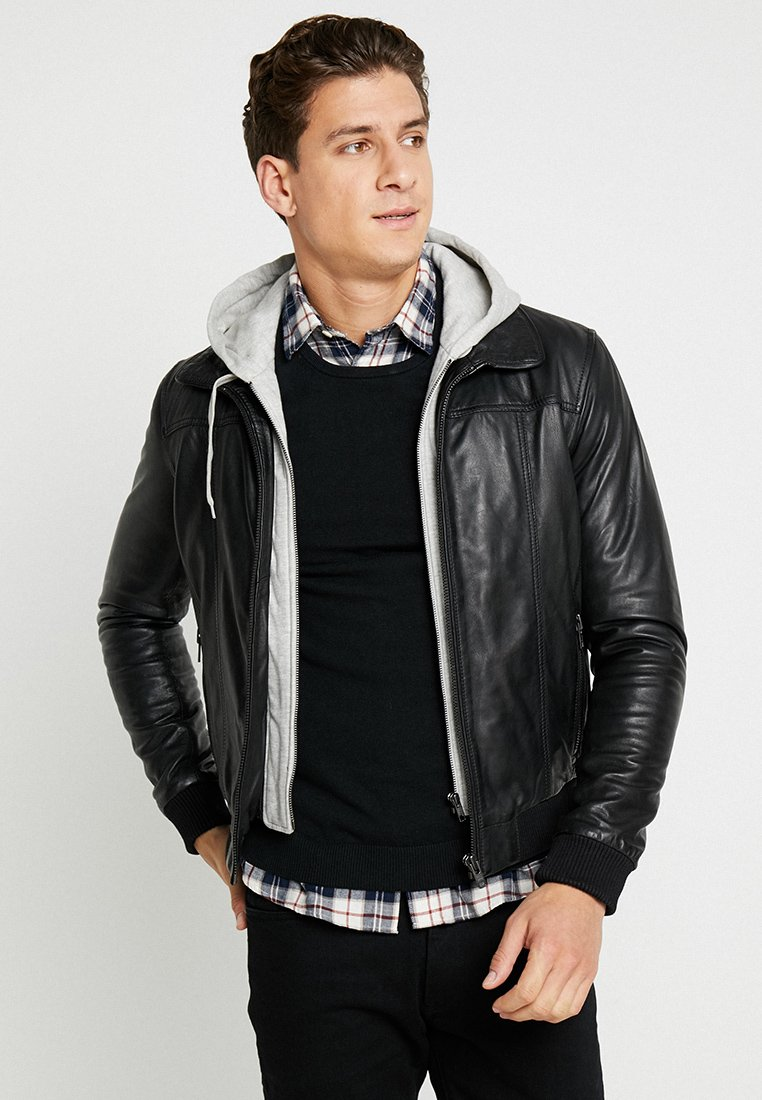 Serge Pariente - HOOD - Leather jacket - black