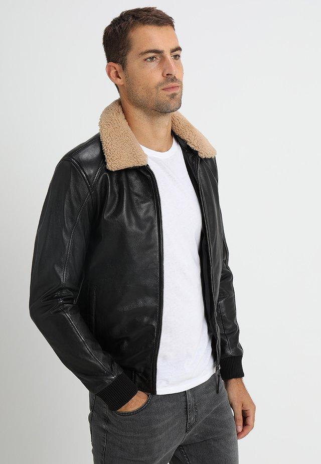 THEODOR - Kožená bunda - black