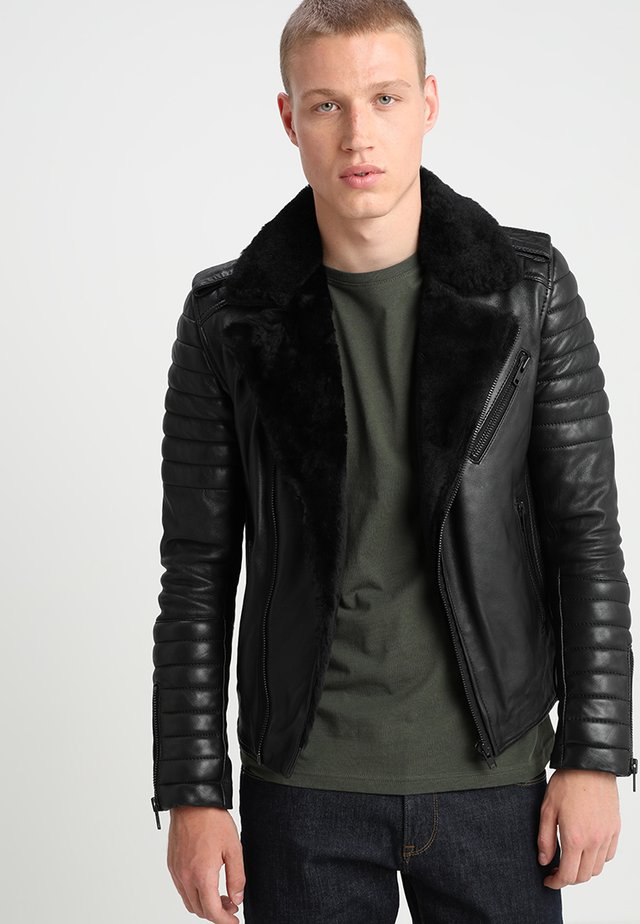 HIPSTER SHEARLING - Kožená bunda - black