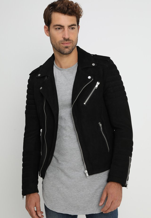 HIPSTER NUBUK - Leather jacket - black