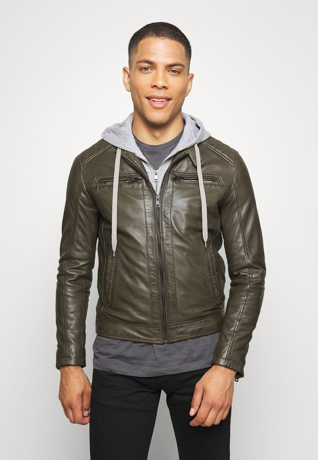 SEAN - Leather jacket - khaki