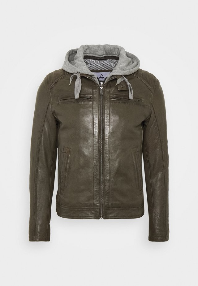 SEAN - Leather jacket - khaki