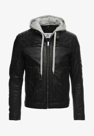 SEAN - Leren jas - black/light grey hood