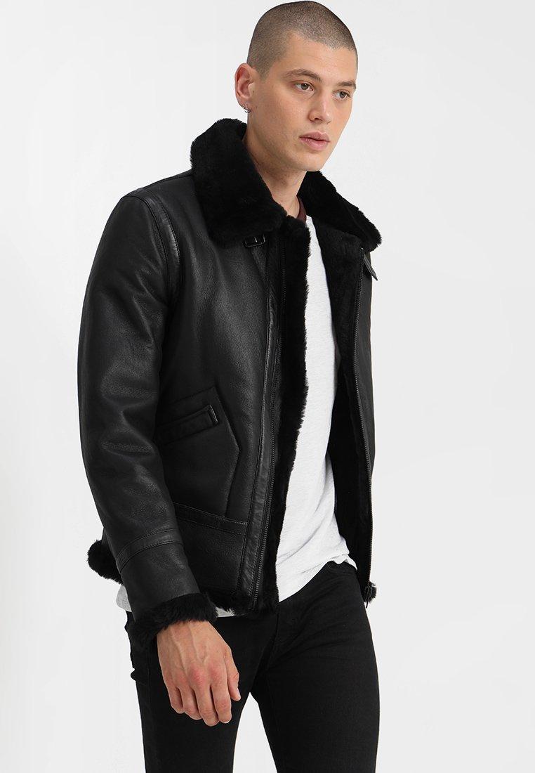 Serge Pariente - KENNEDI SHEARLING - Kožená bunda - black