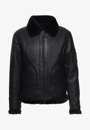 KENNEDI SHEARLING - Kožená bunda - black