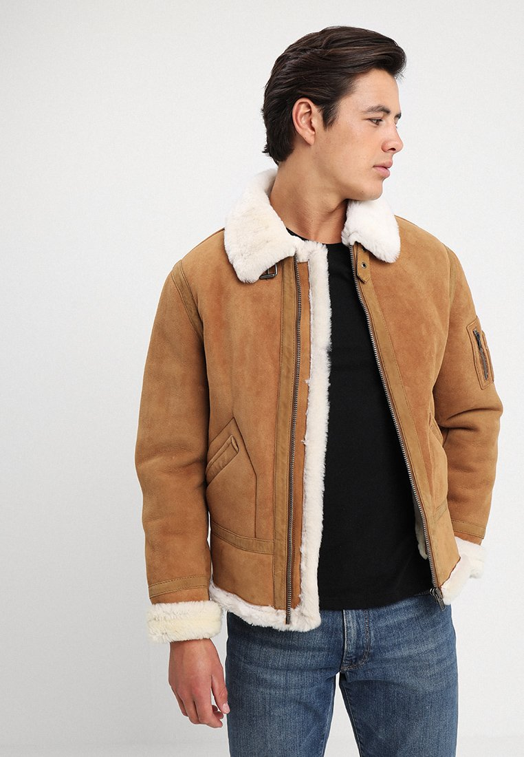 Serge Pariente - KENNEDI SHEARLING - Leather jacket - camel