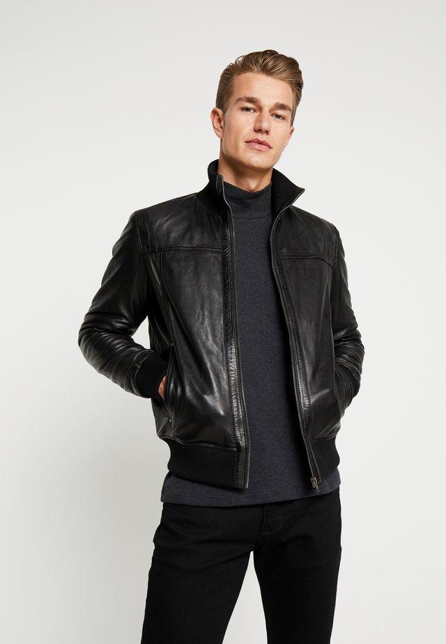 SOUL - Leather jacket - black