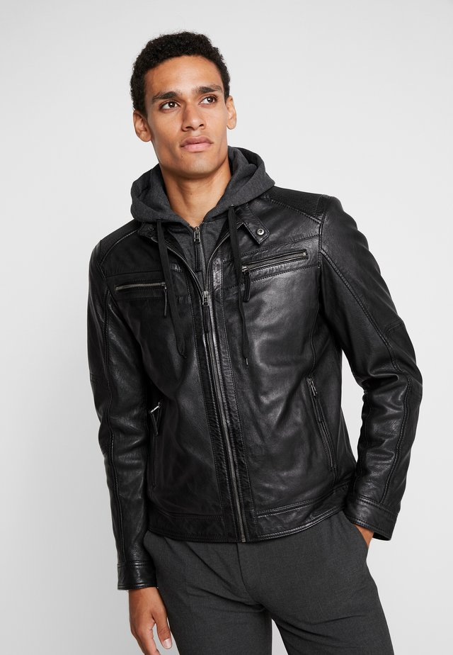 HENRY - Leather jacket - black
