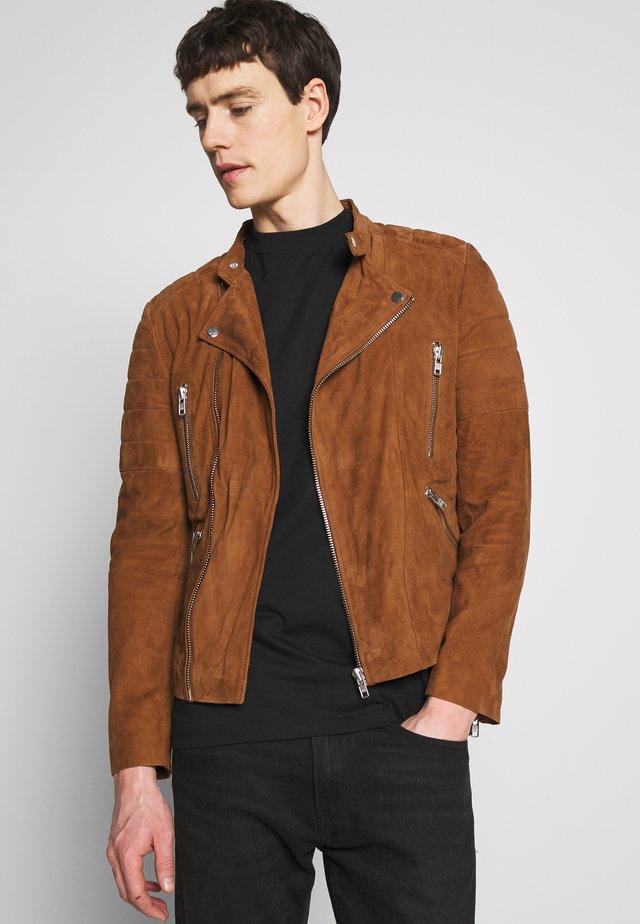 GLADATOR SUEDE - Leather jacket - cognac