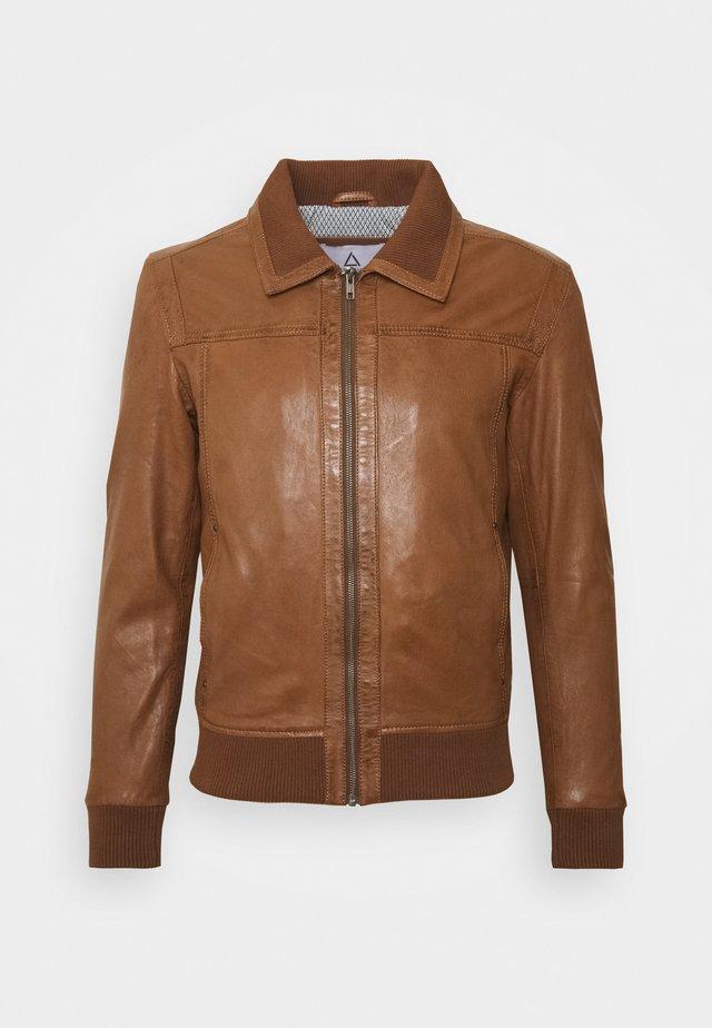KEATON - Leather jacket - cognac