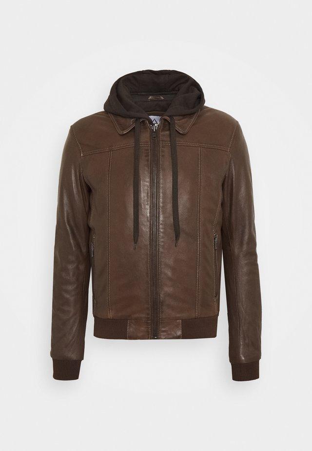 HOOD - Leather jacket - mocca