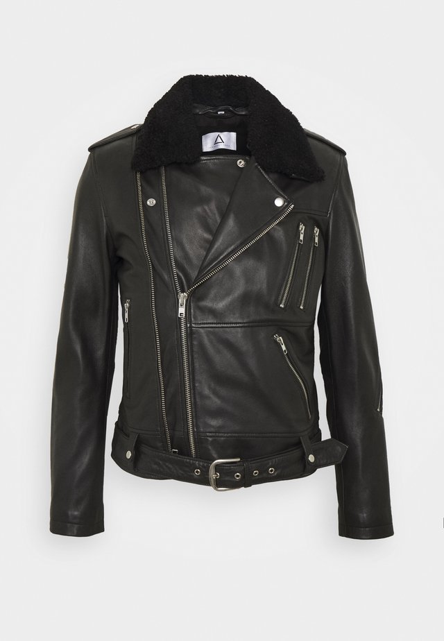 GENOA - Leather jacket - black