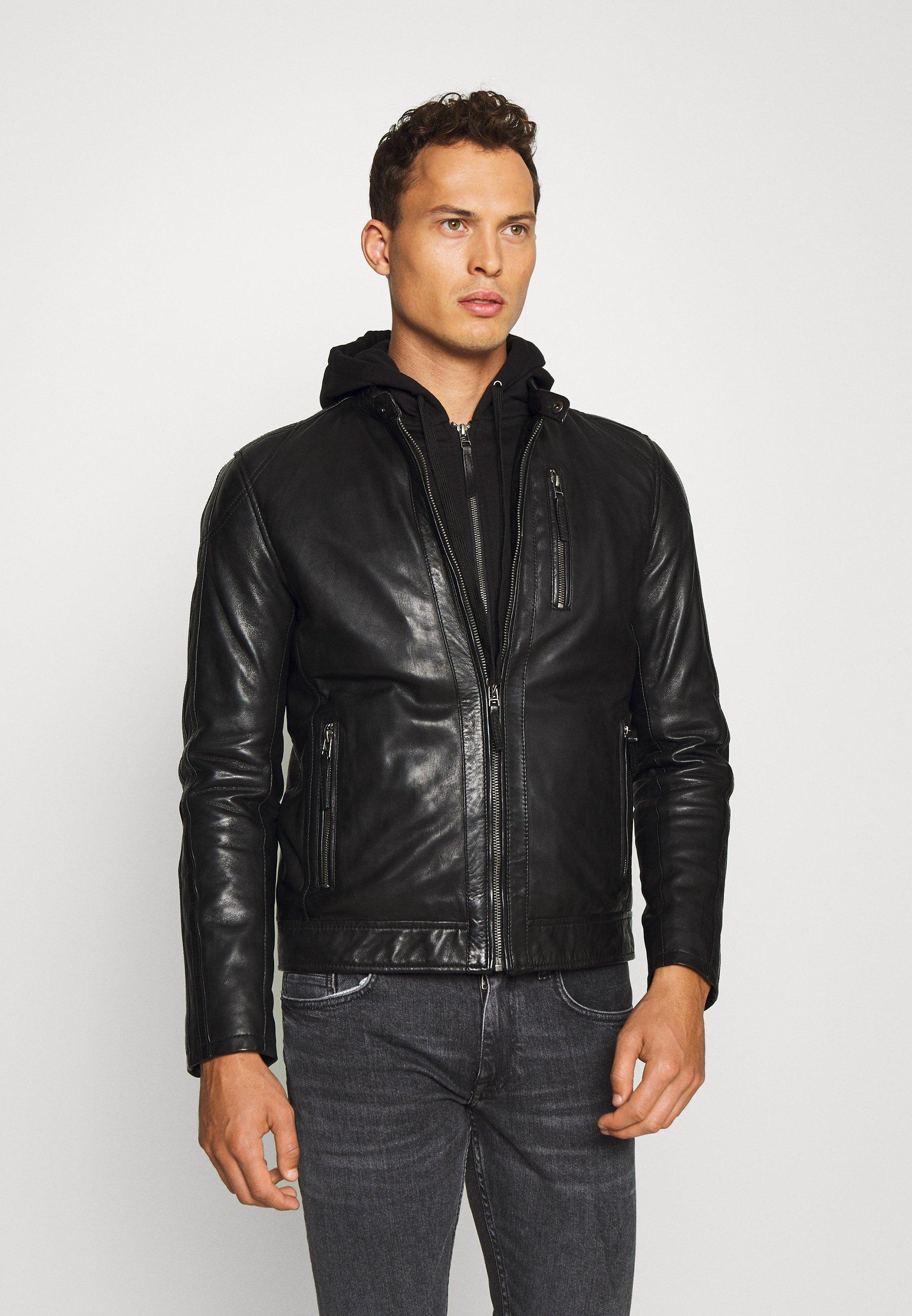 Schott LCJULES Veste en cuir black ZALANDO.FR