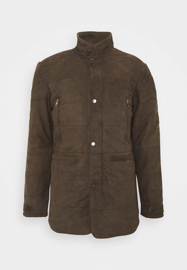 FIRENZA - Leather jacket - khaki