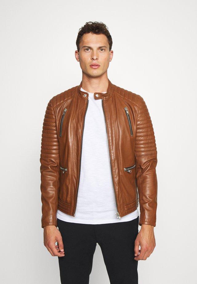 NEW LUX - Leather jacket - cognac