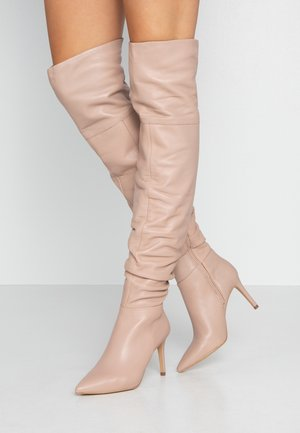 High heeled boots - nude