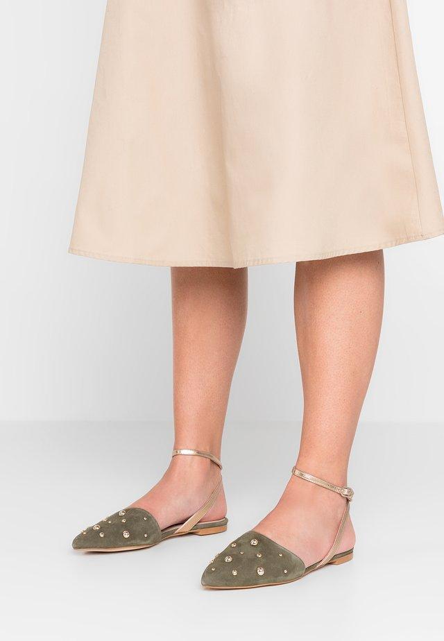 Ankle strap ballet pumps - khaki