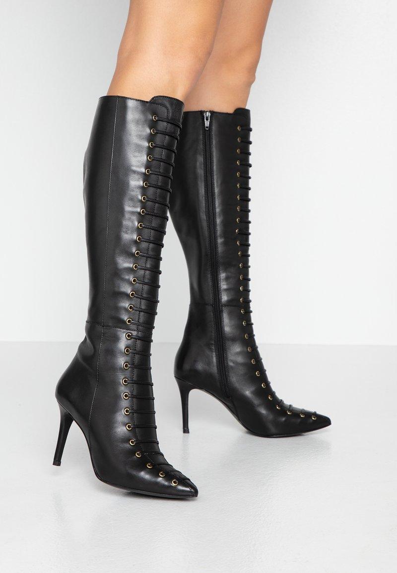 KIOMI - Šněrovací vysoké boty - black