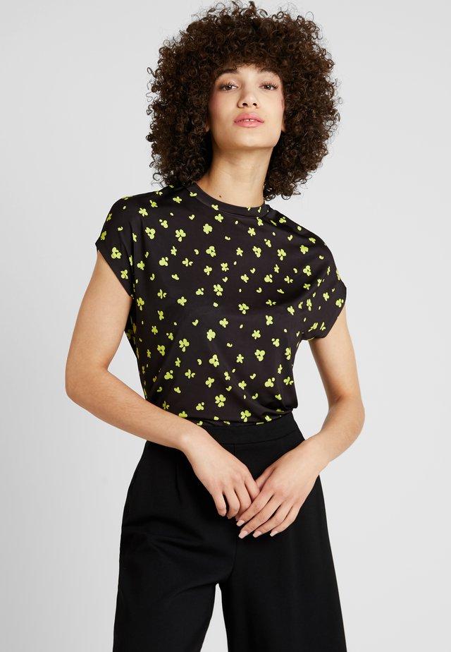ABSTRACT FLORAL PRINTED - T-shirt print - black