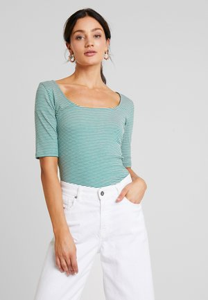 T-shirt med print - green/off-white