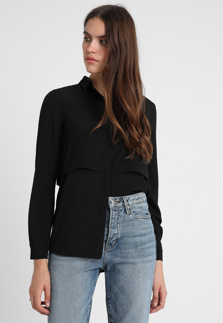 KIOMI - LAYER SHIRT DARK - Button-down blouse - black