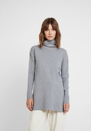 BASIC LONG LINE TURTLE NECK JUMPER - Pullover - mid grey melange